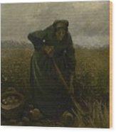 Woman Lifting Potatoes Nuenen, July - August 1885 Vincent Van Gogh 1853 - 1890 Wood Print