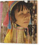 Woman Of The Karen Tribe Wood Print