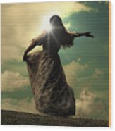 Woman On A Meadow Wood Print