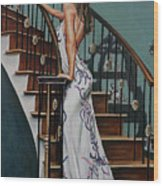 Woman On A Staircase 3 Wood Print