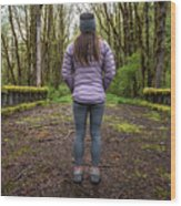 Woman On An Old Moss Covered Bridge In Olympic National Park Wood Print