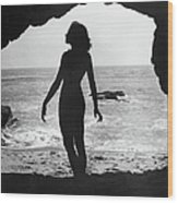 Woman On Beach Wood Print by Sasha