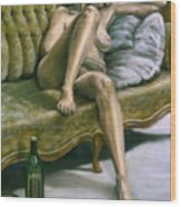 Woman On Green Sofa Wood Print