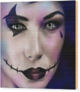 Woman On Halloween Party Wood Print