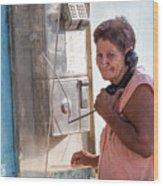 Woman On The Phone Wood Print