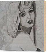 Woman On Wall Wood Print