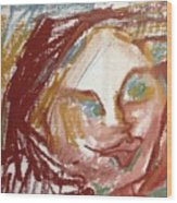Woman Out Of Present Time Wood Print
