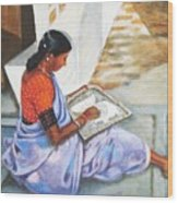 Woman Picking Rice Wood Print