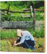 Woman Planting Garden Wood Print