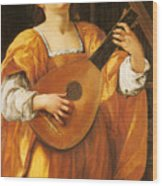 Woman Playing A Lute Wood Print