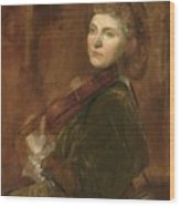 Woman Playing Violin Wood Print