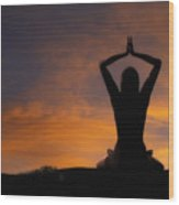 Woman Practicing Yoga Wood Print by Utah Images