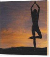Woman Practising Yoga Wood Print
