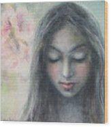 Woman Praying Meditation Painting Print Wood Print