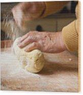 Woman Preparing Dough For Kopytka Wood Print