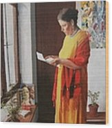 Woman Reading A Letter Wood Print by Kevin Hopkins