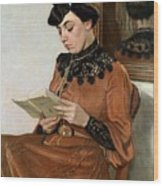 Woman Reading Wood Print by Felix Edouard Vallotton