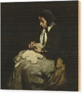 Woman Sewing Wood Print