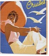 Woman Sitting On A Cruising Ship Wood Print