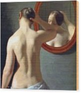 Woman Standing In Front Of A Mirror 1841 Wood Print