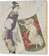Woman Standing On The Rope Of A Kite Wood Print