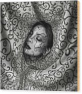 Woman Surrounded By Cloth Of Paisley Prints Wood Print