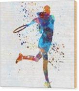Woman Tennis Player 03 In Watercolor Wood Print