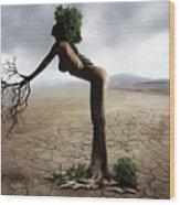 Woman Tree Art Wood Print