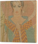 Woman Under The Bamboo Umbrella Wood Print