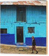 Woman Walking By The Blue House Wood Print
