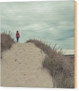 Woman Walking In The Dunes Of Cape Cod Wood Print