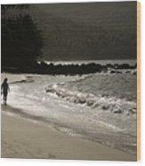 Woman Walking On A Deserted Beach Wood Print
