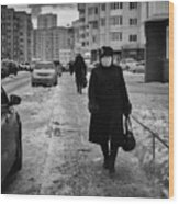 Woman Walking On Path In Russia Wood Print
