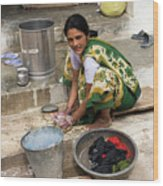 Woman Washing Clothes In Khajuraho Village Wood Print