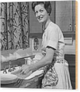 Woman Washing Dishes, C.1960s Wood Print