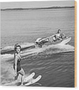 Woman Water Skiing Wood Print
