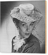 Woman Wearing A Hat & Veil Wood Print