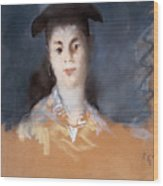 Woman Wearing A Hat With Silk Gauze Wood Print