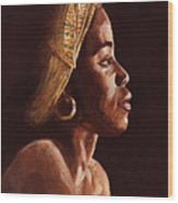 Woman Wearing Scarf Wood Print by Dorothy Riley