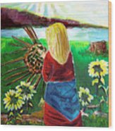 Woman Weaves A Basket By The Lake At Sunset Wood Print
