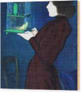 Woman With A Bird Cage  Detail Wood Print