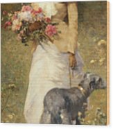 Woman With A Dog Wood Print