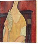 Woman With A Fan Wood Print by Amedeo Modigliani