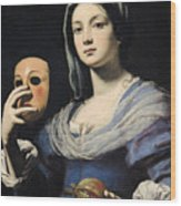 Woman With A Mask Wood Print