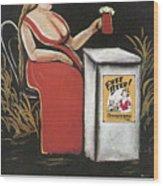 Woman With A Mug Of Beer Wood Print