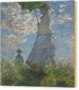 Woman With A Parasol, Madame Monet And Her Son, Claude Monet Digitally Enhanced Wood Print