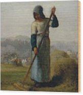 Woman With A Rake Wood Print
