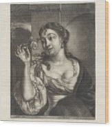Woman With A Rose Wood Print