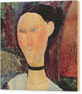 Woman With A Velvet Neckband Wood Print by Amedeo Modigliani