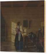 Woman With A Water Pitcher And A Man By A Bed The Maidservant Wood Print
